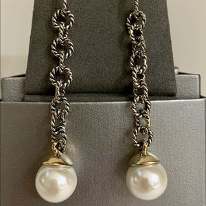 Silver Cable Chain and Pearl Drop Earrings